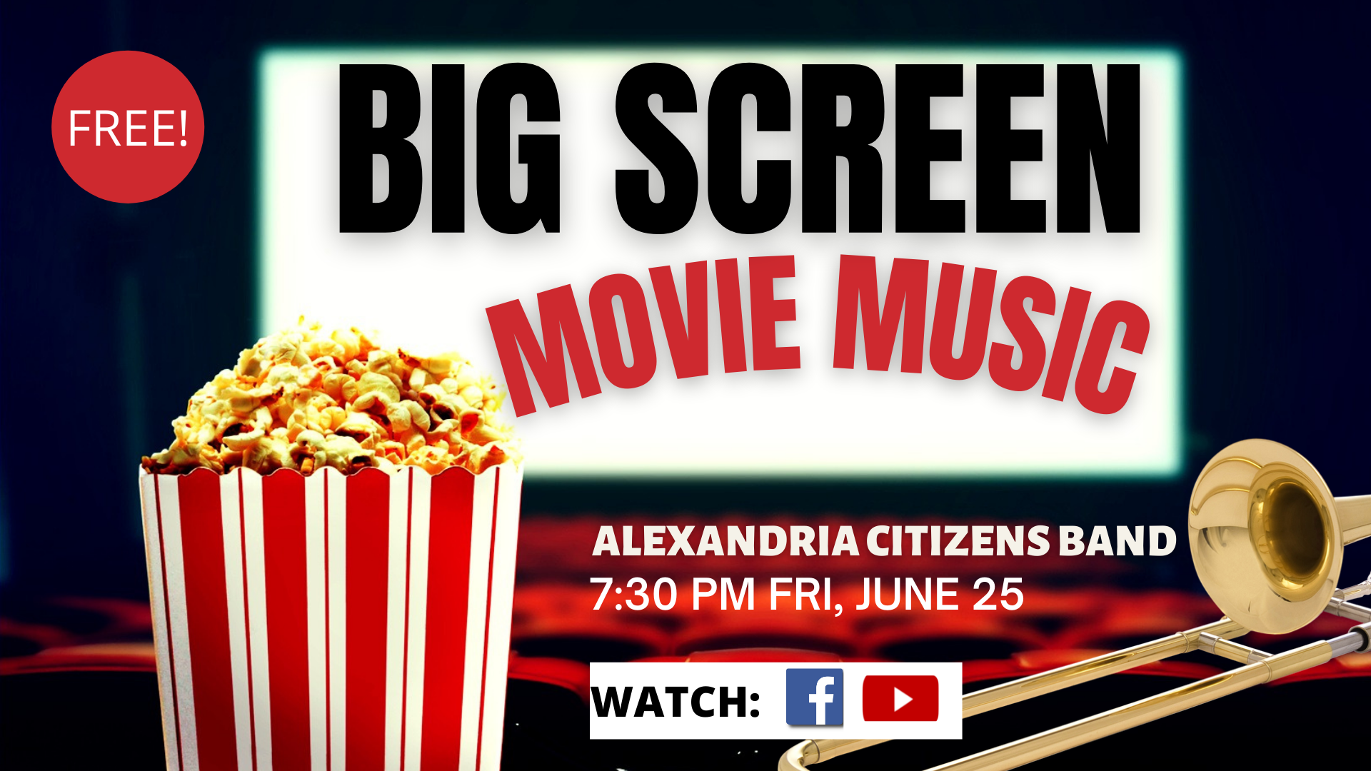 Big Screen Music facebook WITH DATE